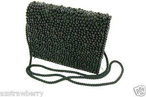 Vanessa Paris New York London Black Silk Bubble Beaded evening Bag purse clutch