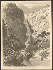 ILE MAURICE MAURITIUS LA CASCADE DE LA RIVIERE DE LA SAVANE IMAGE 1862 OLD PRINT