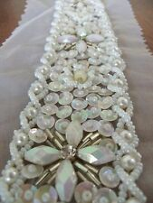 1pce sequin bead motif white bridal collar embellishment 4cm width u-shaped