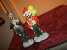 Two Flambro Emmett Kelly Jr. Christmas Ornament Figurines Accountant Balloons