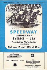 1983 USA VS SWEDEN SPEEDWAY MOTORCYCLE TEST MATCH PROGRAM FROM SWEDEN