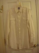 Mens Karman Western Tan Striped Long Sleeve Pearl Snaps Dress Shirt Size 2XT 38