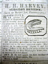 1848 Hagerstown MARYLAND newspaper w illustrated DENTIST AD shwing lower denture
