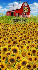 """23"""" Fabric Panel - Timeless Treasures Sunflower Farm & Quilt Barn Wallhanging"""
