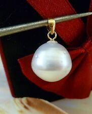 AUST WHITE SOUTH SEA CULTURED PEARL 12.5 mm PENDANT  14 kt Solid Gold