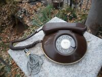Retro Phone Rotary Dial Northern Telecom Round Space Age Telephone Brown Canada