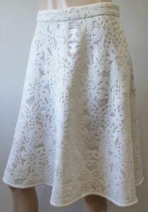 CAROLINA HERRERA White & Cream Cut Out Lined A-Line Flared Skirt 6 UK10