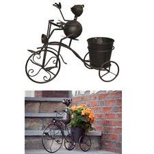 Deko-Figur FROSCH AUF FAHRRAD mit Pflanztopf - Metall Blumentopf Pflanzgefäß