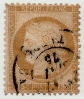 1871/73 FRANCIA CERERE 15 CENT. MARRONE GIALLASTRO USATO