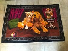 """Vintage Tapestry from ATC A T C Cat Chicken Dog  Wall Hanging 55"""" x 38"""""""