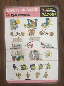 Qantas Airways Boeing 747SP Safety Card: Mint Condition