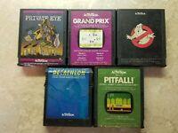 5 Atari Activision Games Private Eye Ghostbusters Pitfall Grand Prix Decathalon