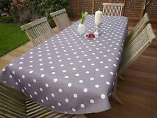 Tischdecke Provence 150x240 cm oval grau Punkte weiß Frankreich, pflegeleicht