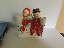Vintage Christmas Boy And Girl Planter Candle Holder Ucagco