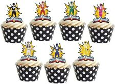 14x POWER RANGERS Premium wafer Edible cake party toppers STAND UPS