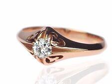 Jugendstil Solitär Damen 14 K 585 Rot Gold 0,30 ct Diamant Verlobung Ring !