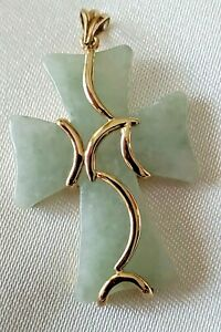 Reversible Jade Cross stone Outlined gold accents bail 10k  cross pendant