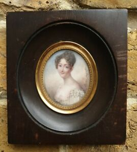 Early 19th.Century French Empire Portrait Miniature Signed Augustin 1800s Lady