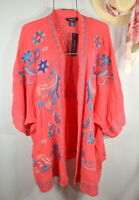 NEW Plus Size 2X Pink Coral Embroidered Open Cardigan Duster Topper Kimono NWT