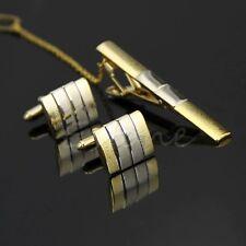Classic Gold Men Necktie Tie Bar Clasp Clip Cufflinks Sets Simple Party Gift Hot