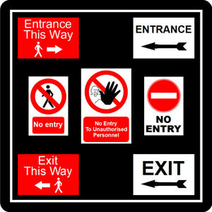 Signs for Shop & buisiness Entrance Exit No Entry This way arrow Social Distance