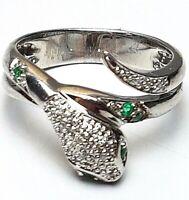 Design Schlangen Ring 925 Silber punziert echte Diamanten & Smaragde RG 57/18,1