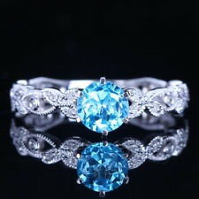 Flawless!Solid 10K White Gold Natural Diamonds Blue Topaz Engagement Fine Ring