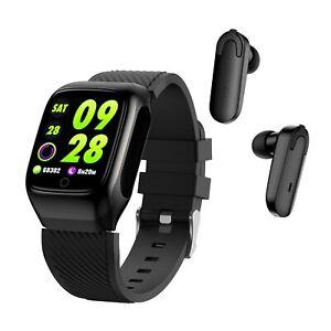 2-In-1 Smart Watch TWS Earbuds Fitness Tracker True Wireless Bluetooth 5.0