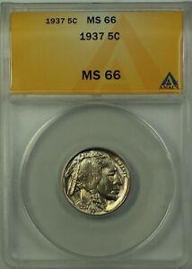 1937 Buffalo Nickel 5c Coin ANACS MS-66