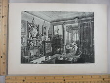Rare Antique Original VTG 1878 Modern Interior Design Parlor Engraving Art Print