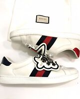 GUCCI Ace Sneakers UFO/Dragon Patch Luxury White Leather US 9 MADE IN ITALY