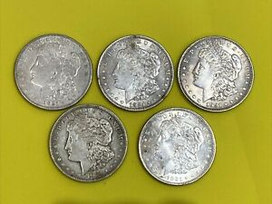 Four (4) 1921 & One (1) 1921-S Morgan Silver Dollar Coins - Free Shipping!