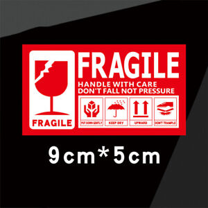 Fragile Handle With Care Sticker Adhesive Label Sticker Packing Packaging 9x5cm