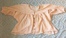 Free People Peach Boho Eyelet Button Down Peasant Top Blouse Size Small