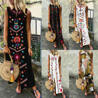 Mode Femme Floral Col V Sans Manceh Party Club dress Jupe Robe Maxi Longueur