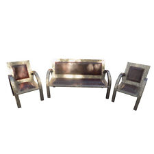 Moroccan Living Room Seating Leather & Metal Silver Finish Set