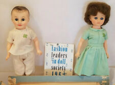 """10"""" Vintage Vogue Dolls """"Jill"""" and """"Jeff"""" in outfits with partial original box"""