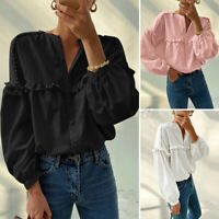 UK Womens Ruffled Frilled Long Sleeve Blouse Casual Loose Tops Button Down Shirt