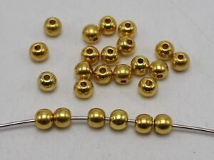 """500 Golden Metallic Acrylic Round Spacer Beads 6mm(0.24"""") Smooth Ball Beads"""