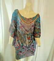 One World Womens Multicolored Floral Printed Plus Sized Blouse 1X