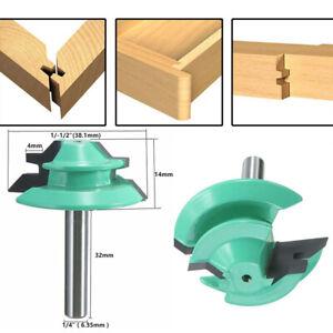 45 Degree Lock Miter Router Bit Woodwork Tenon Cutter Tool 1/4'' Shank 1-1/2''d