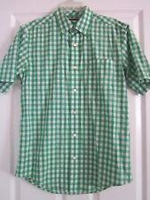 Men's Size S (34-36) Green Checker Short Sleeve Shirt Faded Glory Button Down