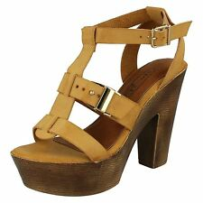Ladies Spot on Sandals F10454 Tan 6 UK Standard