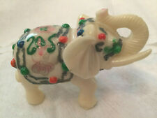 White Ivory Colored Elephant Figurine Trunk Up Painted Resin