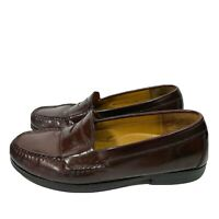 Cole Haan Mens Shoes size 8 D Brown leather Penny Loafers Slip On Moc Shoes . .