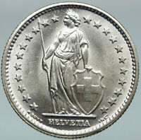 1967 SWITZERLAND - SILVER 2 Francs Coin HELVETIA Symbolizes SWISS Nation i88266