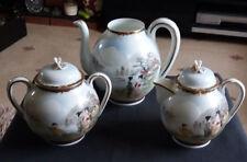 Vintage Hand Painted Oriental Teapot, Water Jug Sugar Bowl Fine Porcelain
