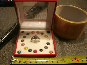 STERLING INTERCHANGEABLE STONE RING W/20 DIFFERENT COLORED STONES size 6
