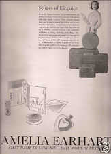 50's Andy Warhol Illustrated 2-Page Amelia Earhart Luggage Ad 1957