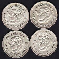 Australia KGVI & QE2 Shilling Group - 1952 1953 1954 1955 TEX93